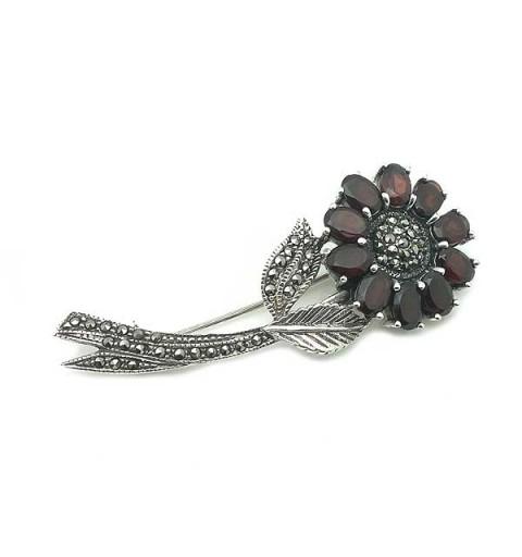Garnet flower brooch
