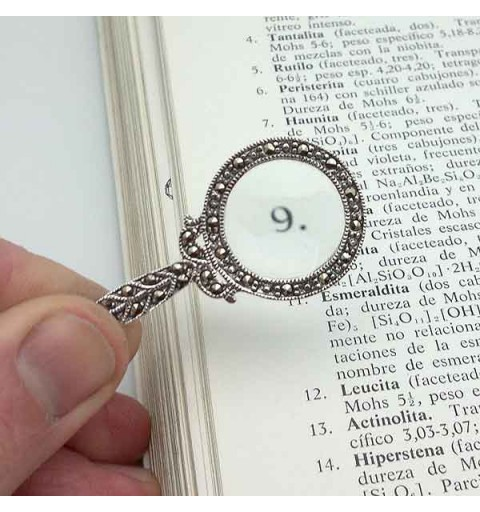 Pendant with magnifying glass and marcasites