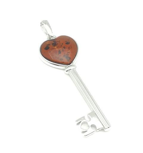 Amber key pendant