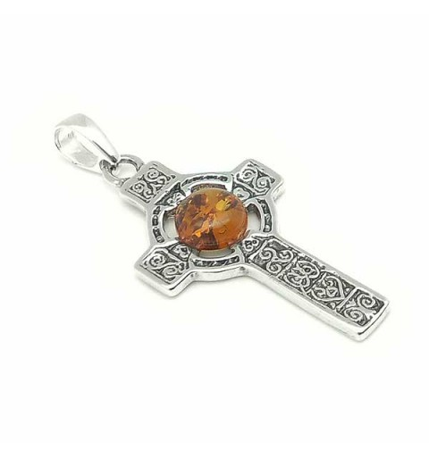 Amber celtic cross pendant
