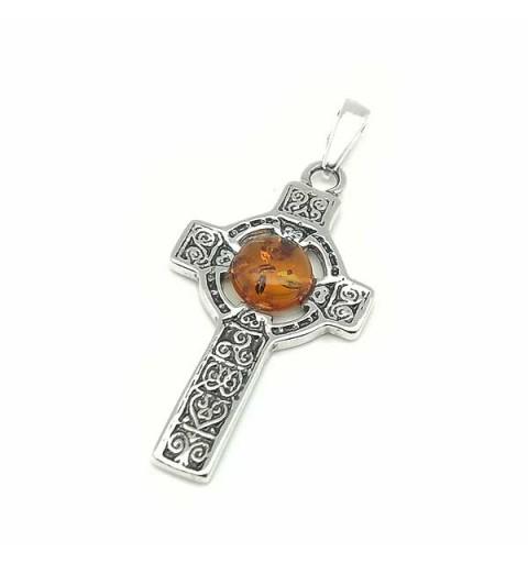 Amber celtic cross pendant