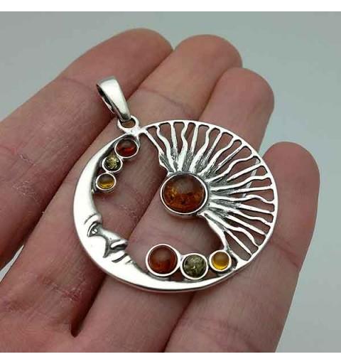 Amber sun & moon pendant