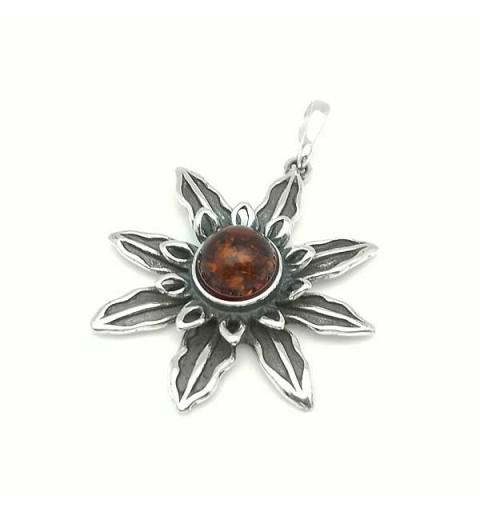 Amber flower pendant
