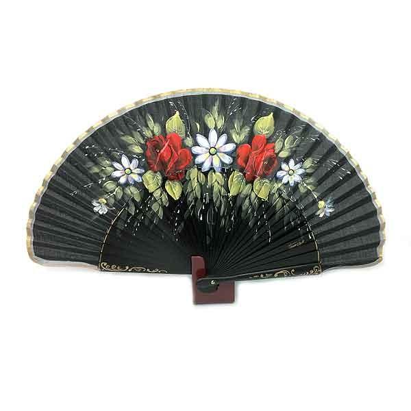 Abanico negro flores