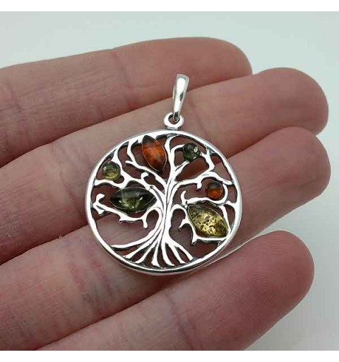 Tree life pendant with amber