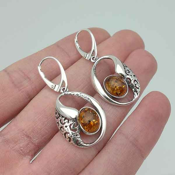 Openwork amber earrings