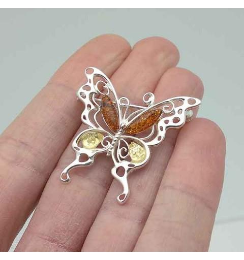 Broche ambar mariposa