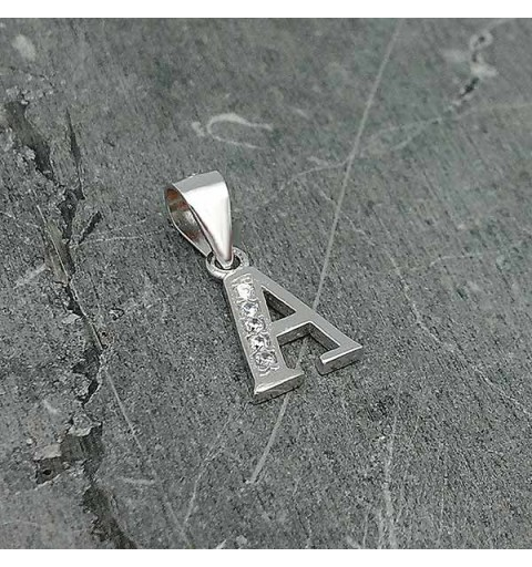Initial silver pendant, letter A.