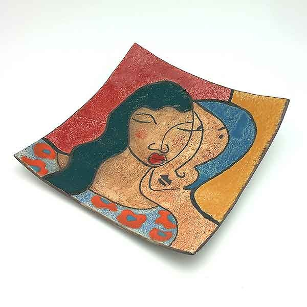 plato cerámica pareja