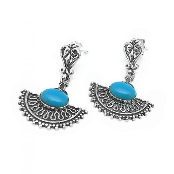 Turquoise ethnic earrings