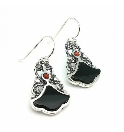 Silver, jet and coral earrings.