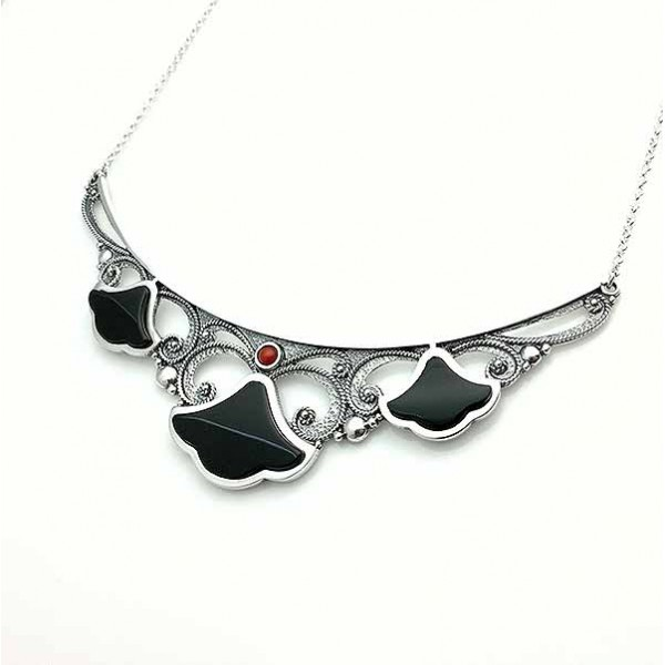 Sterling silver, jet and coral choker