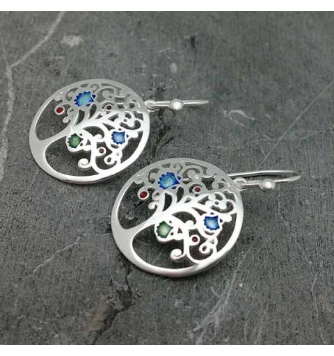 Tree of life earrings, with motifs of the road to Santiago, in sterling silver