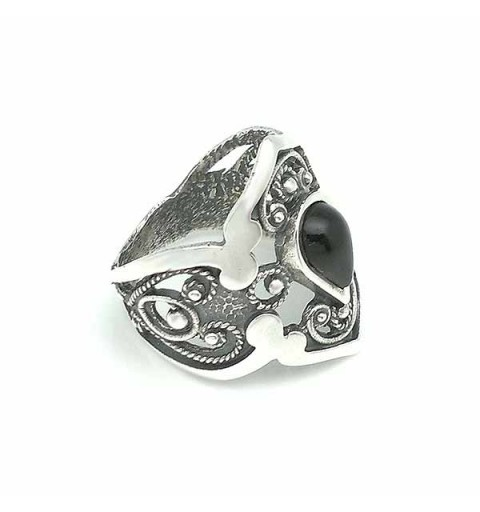 Filigree ring, in sterling silver and jet