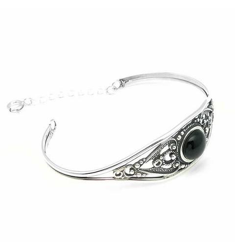 Silver and jet bracelet
