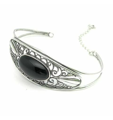 Bracelet sterling silver and jet