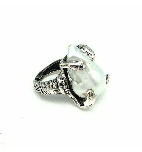 Silver ring with baroque pearl
