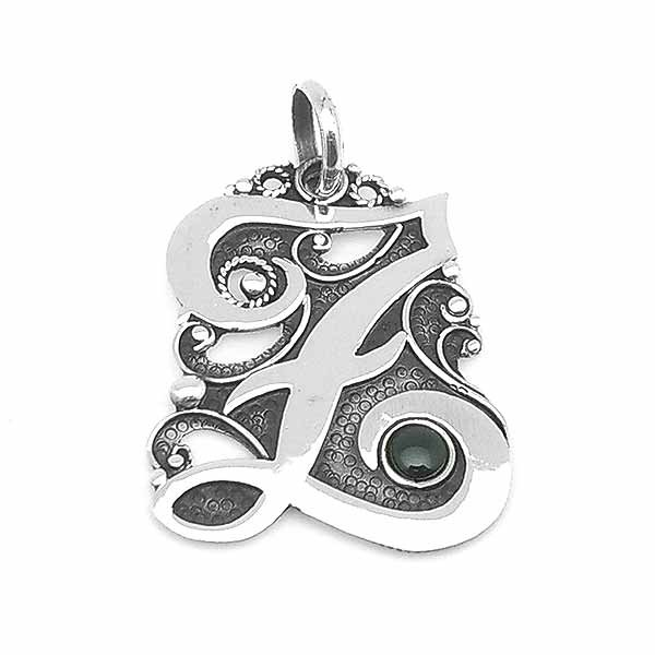 Letter Z pendant in sterling silver and jet