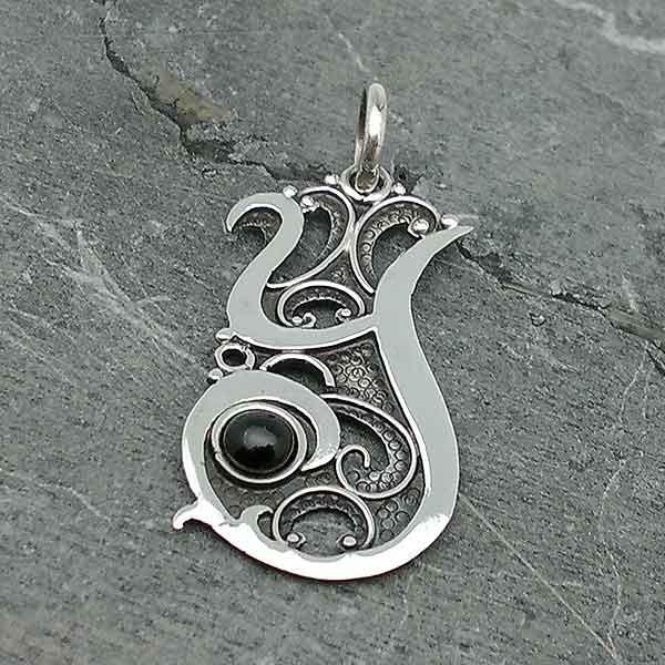 Initial, letter Y, in sterling silver and jet