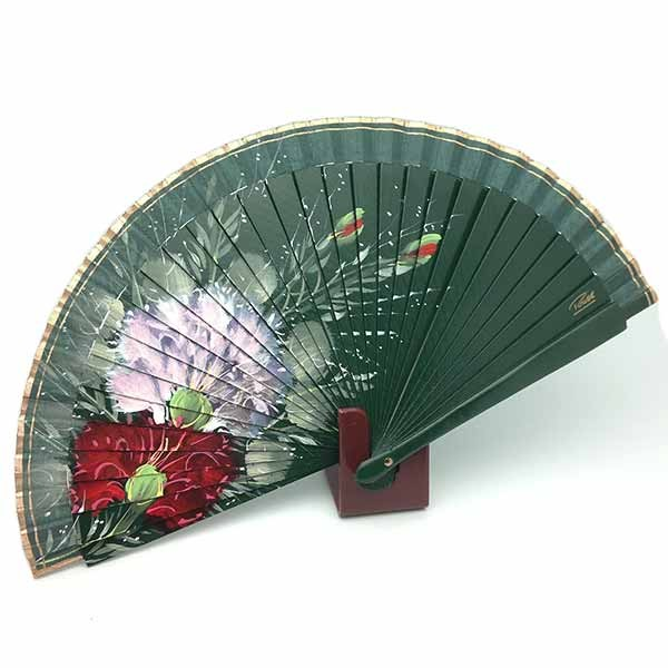 Handmade fan, in green tones.