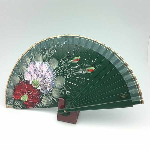 Handmade fan, in green tones.