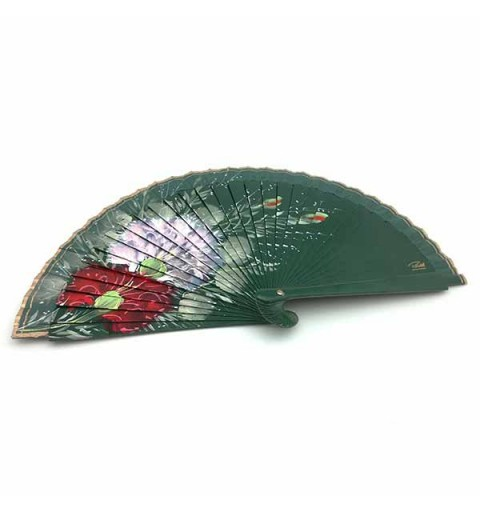 Abanico artesanal, en tonos verdes.