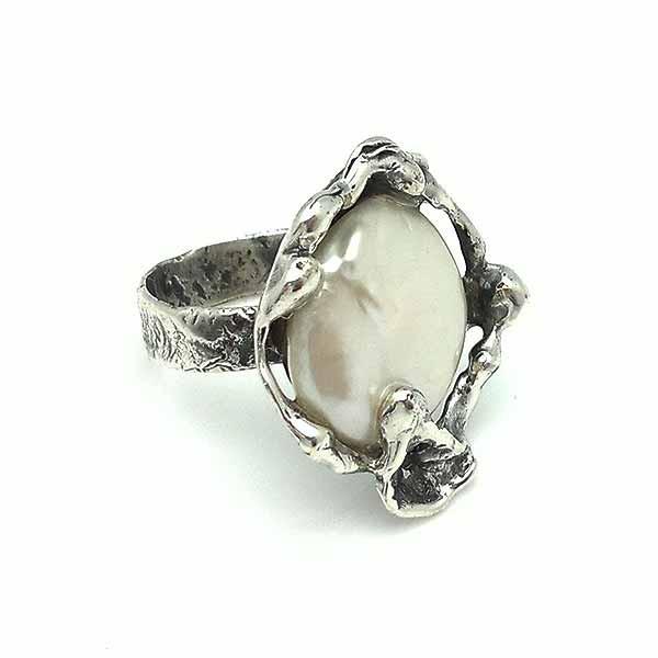 Anillo plata perla coin