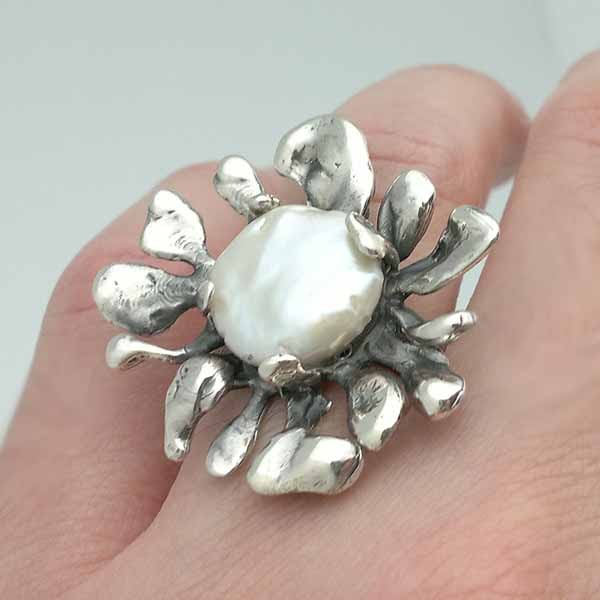 Silver and pearl ring, contemporary jewelry