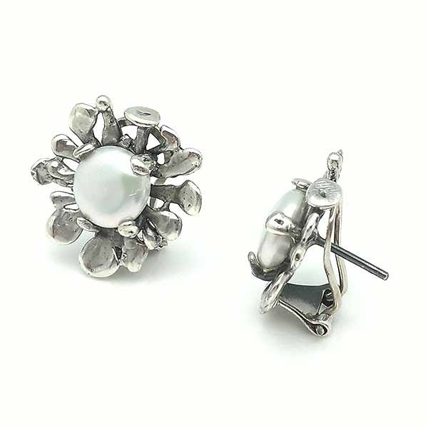 Silver earrings with omega clasp