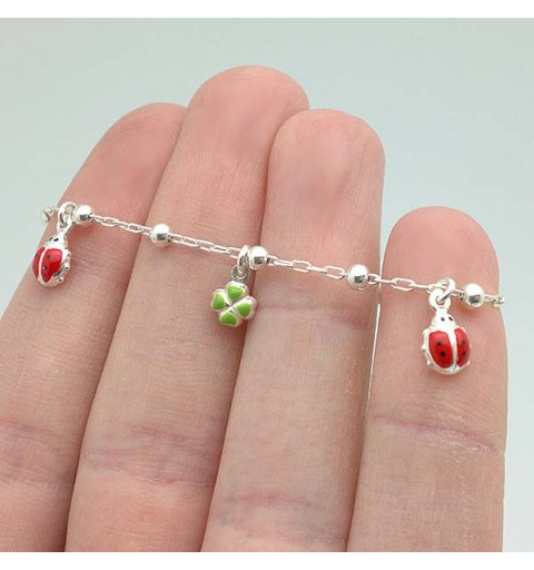 Ladybugs and clovers bracelet