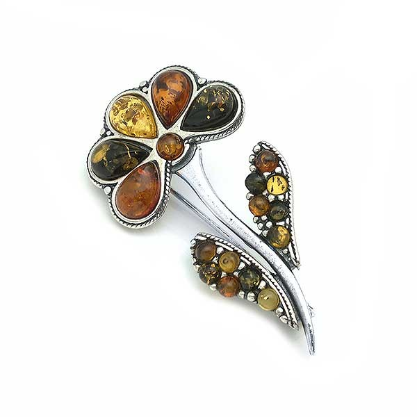Flower amber brooch
