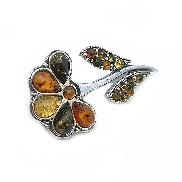 Flower amber brooch