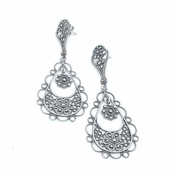 Long filigree earrings