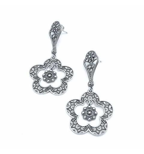 silver earrings, filigree