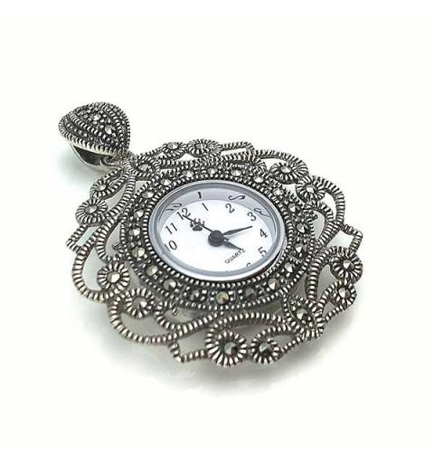 Reloj colgante tipo antiguo en plata de ley