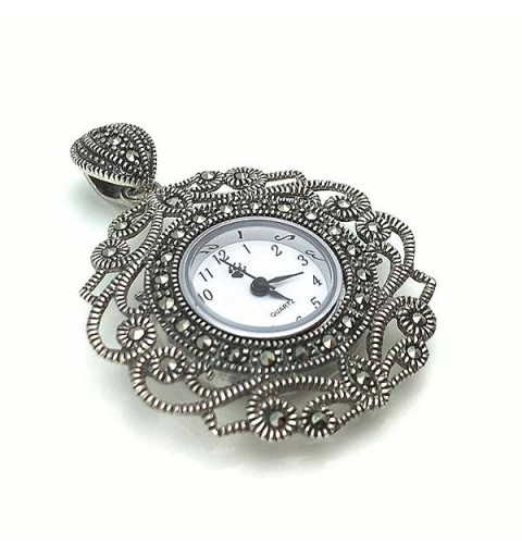 Antique type pendant watch in sterling silver