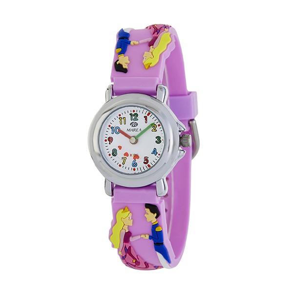 Reloj para niñas, adornado con un principe y una princesa.
