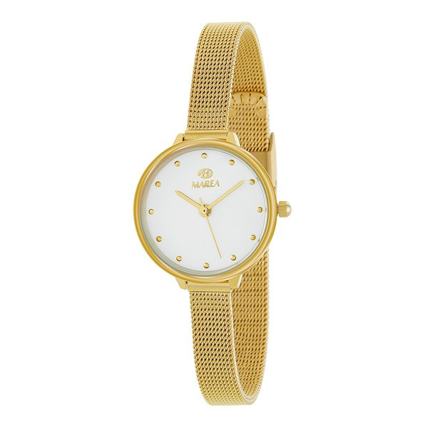 Gold ladies watch, with Milanese mesh.