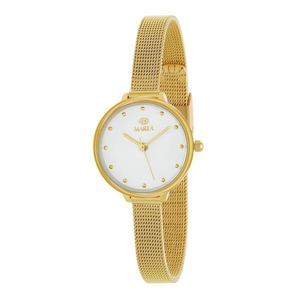 Reloj para señora dorado, con malla milanesa.