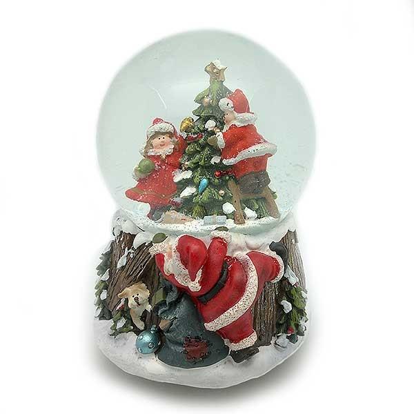 Bola de nieve santa con niños