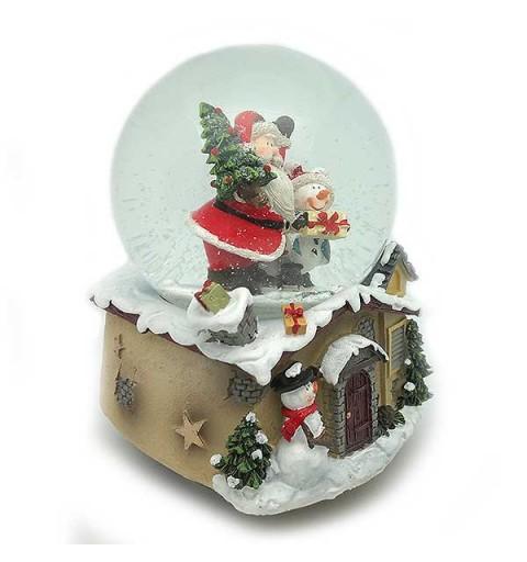Bola de nieve Santa Claus y muñeco