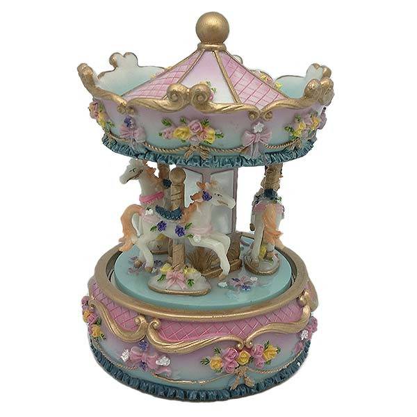 Musical carousel to scale, in pink and light blue tones.