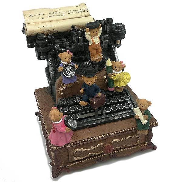 Typewriter shaped music box.