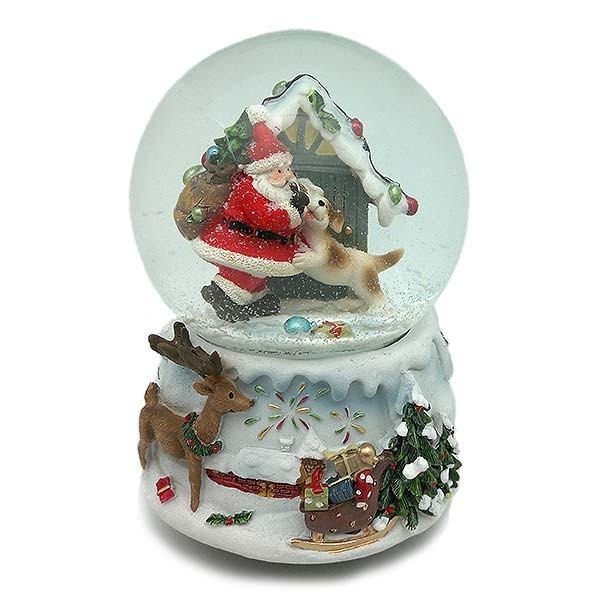 Bola de nieve con papa noel y perrito