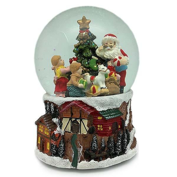 Bola de nieve papa noel con niños y regalos