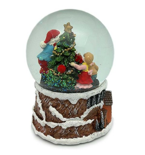 Santa Claus snowball with children and gifts