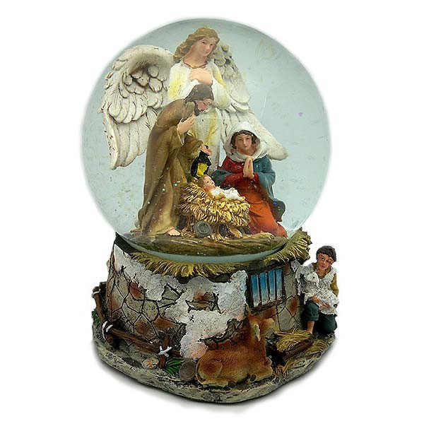 Snowball with Christmas nativity scene