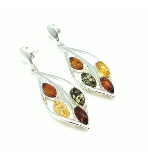 Earrings leaf, silver and amber