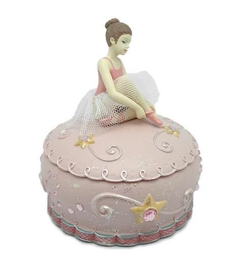 Caja de música de color rosa, con bailarina.