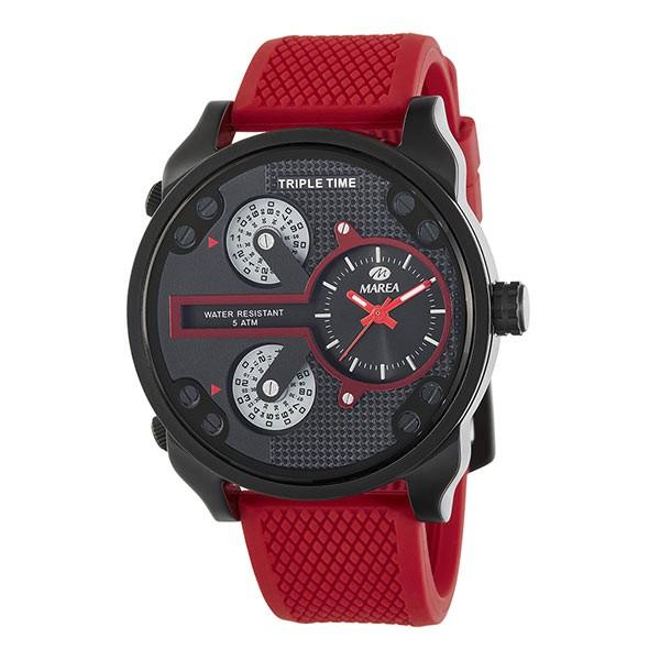 Reloj de la marca Marea en tonos rojos y negro, tipo deportivo.